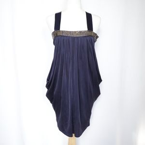 Ted Baker Blue Silk Draped Mini Dress Strappy 2